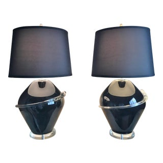 Black Glass Table Lamps - A Pair