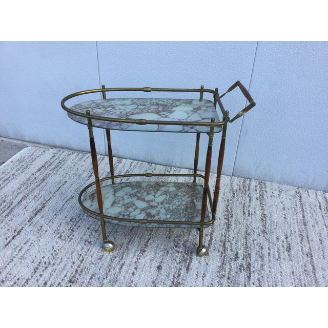 1950s Italian Brass & Walnut Bar Cart - Image 3 of 11