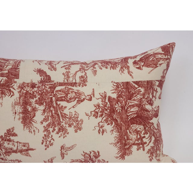 Deconstructed Red & Cream Toile Pillow - Image 4 of 5