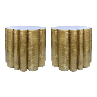 Scalloped Brass Finish Side Tables - a Pair
