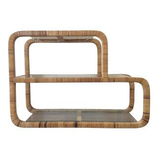 Milo Baughman Style Rattan Wrapped Mid-Century Sofa Table