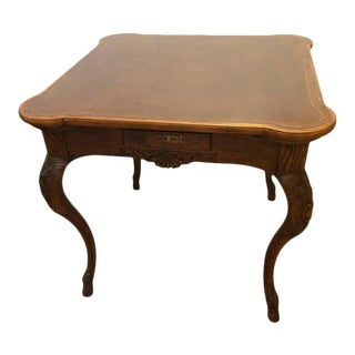 Rich Oak and Tooled Leather Game Table
