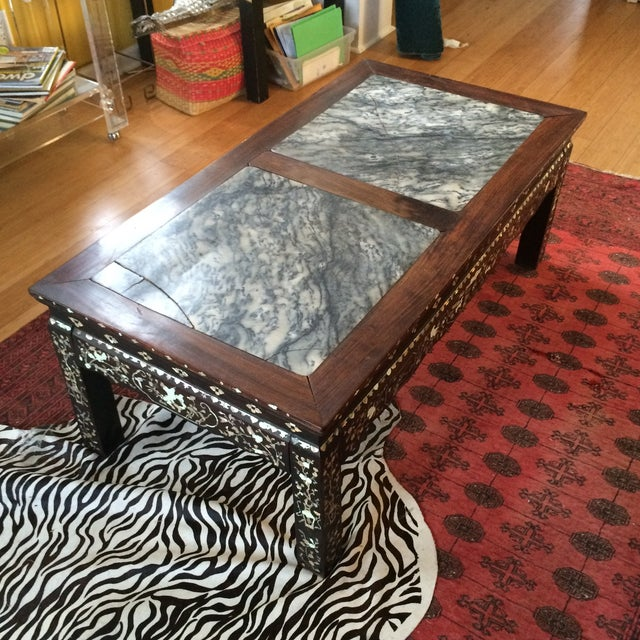 Chinoiserie Mother of Pearl Marble Table - Image 2 of 9