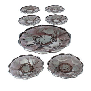 Amethyst Glass with Silver Overlay Dessert Set