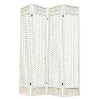Vintage Sarreid LTD Whitewashed Folding Screen