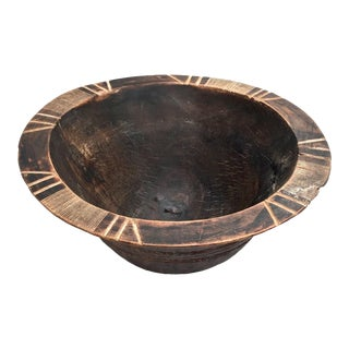Antique Primitive Bowl With Carvings