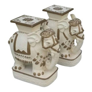 Hollywood Regency Gold & White Elephants Garden Stools - a Pair