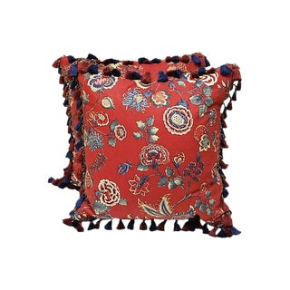Brunschwig & Fils Red & Blue Floral Pattern Pillows - A Pair