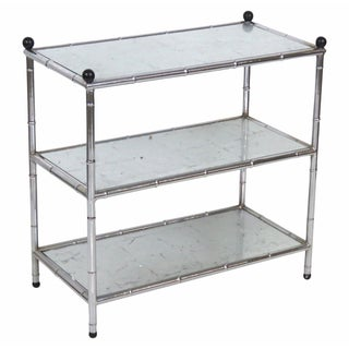 Chrome Faux Bamboo Three Tier Table