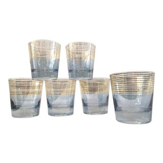 Powder Blue & Gold Crystal Lowball Glasses - Set of 6