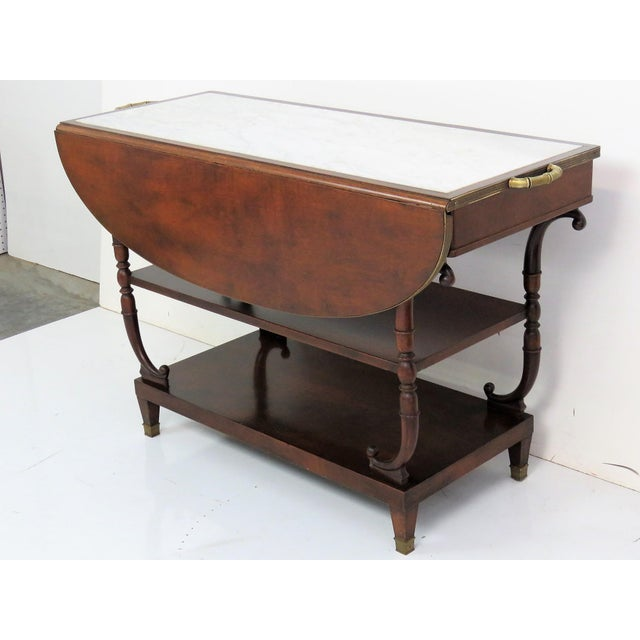 Directoire Style Marble Top Mahogany Drop Leaf Server Table - Image 4 of 8