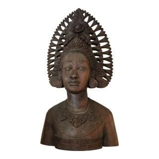 Vintage Indonesian Carved Wooden Bust Sculpture