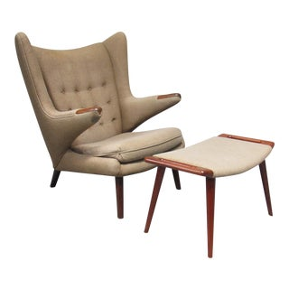 Papa Bear Chair & Ottoman by Hans Wegner for Ap Stolen - A Pair