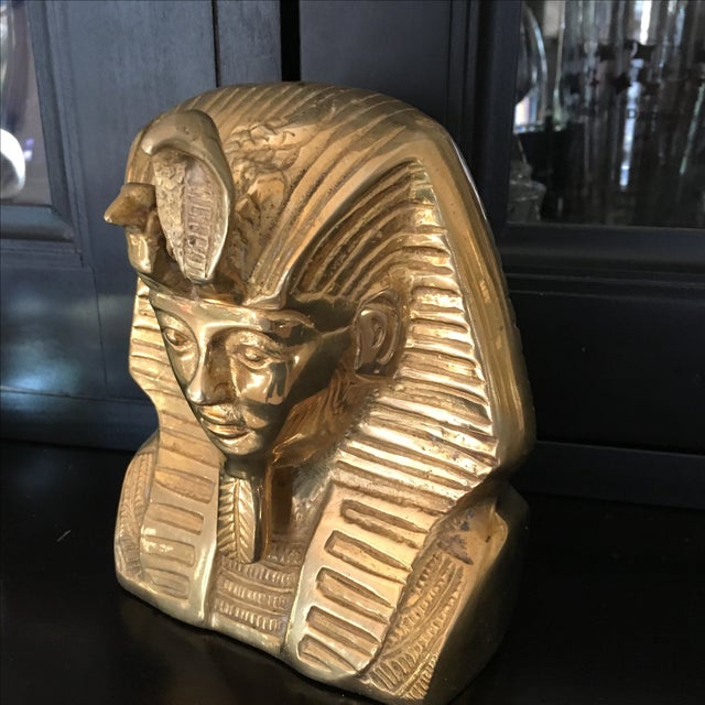 Vintage Solid Brass Egyptian Bust of King Tut - Image 4 of 8