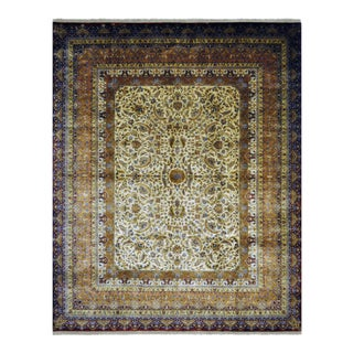 Oriental Persian Farahan Design Hand Knotted Area Rug With Floral Motifs and Border - 8' X 9'9""