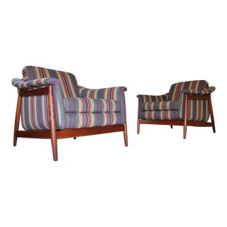 Folke Ohlsson for DUX Danish ModernTeak Lounge Chairs - A Pair