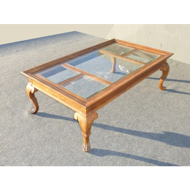 Vintage french country glass top wooden coffee table for French glass coffee table