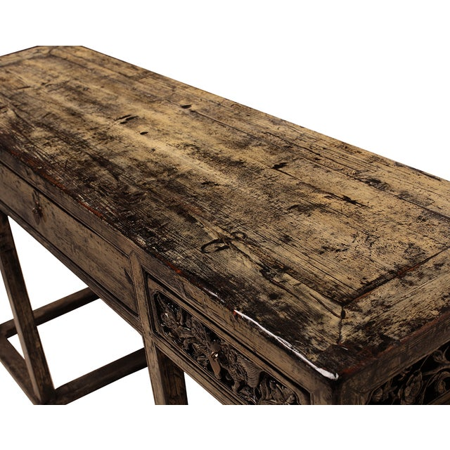 Chinese Yellow White Wood Altar Writing Desk - Image 4 of 5