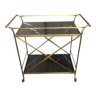 Mid Century Modern Brass & Marble Bar Cart