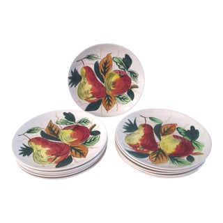 Mid-Century Hand-Painted Fruit Design Plates - Set of 11