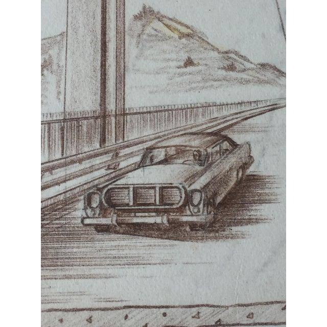 Mid-Century Golden Gate Bridge Architectural Sketch - Image 5 of 9