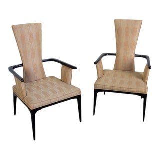 Pair of Ebonized Moderne Armchairs