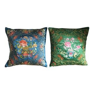 Vintage Silk Chinese Pillows - A Pair