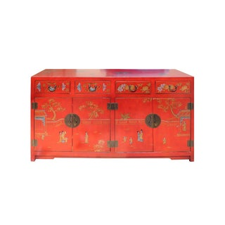 Red Vinyl Kids Graphic Sideboard Buffet Table Cabi