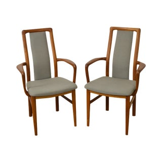 Danish Modern Pair of Teak & Upholstered Arm Chairs