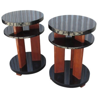 American Industrial Modern Circular End Tables- A Pair