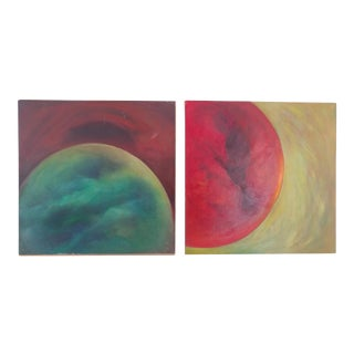 Mid-Century Modern Abstract Oil Paintings - a Pair