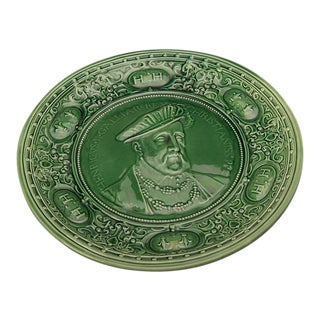 Green majolica platter depicting King Henri XVIII of England c.1880