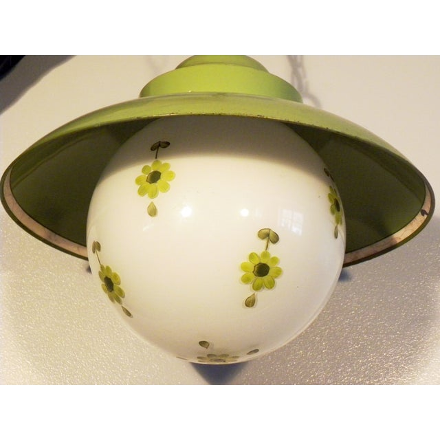 Chartreuse Flower Swag Lamps - A Pair - Image 5 of 7