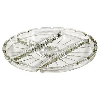 1950s 4-Part Glass Serving Plate