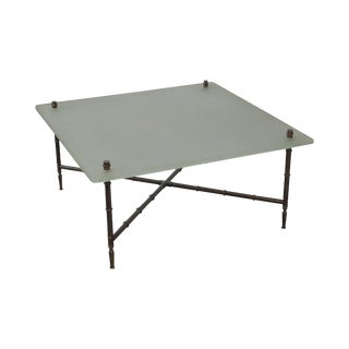 Faux Bamboo Brass Base Frosted Glass Top Coffee Table