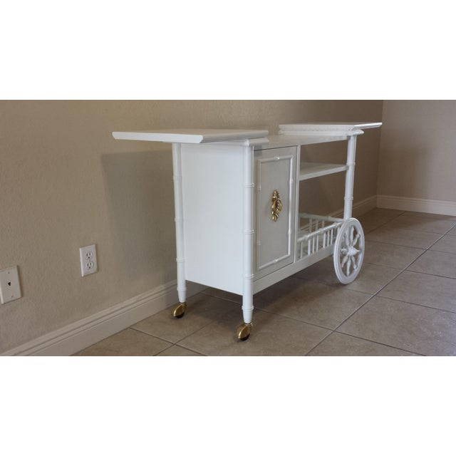 Hollywood Regency Faux Bamboo Bar Cart - Image 10 of 11