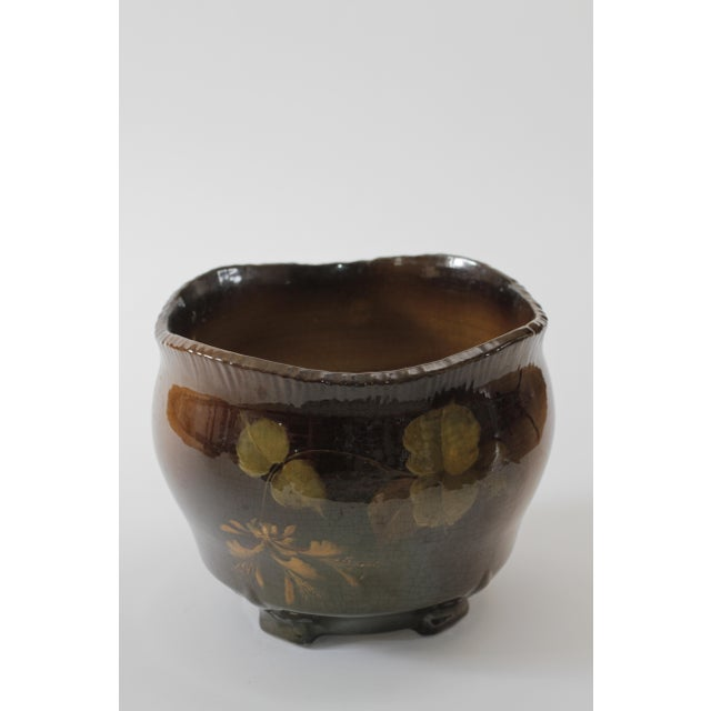 Vintage Brown Ceramic Footed Planter Cachepot Jardiniere With Leaves and Flowers - Image 7 of 11