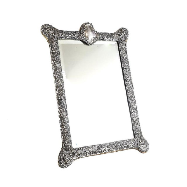 Circa 1903 Fine English Victorian Sterling Silver Leather & Wood Mounted Table Mirror - Image 2 of 7