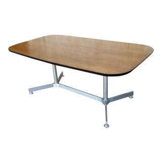 Vintage Walnut Top Aluminum Base Dining Table