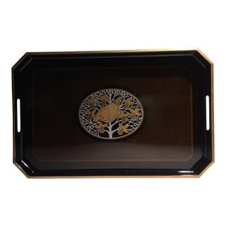 """Vintage Lacquer Otagiri Japan """"Partridge in a Pear Tree"""" Serving Tray"""