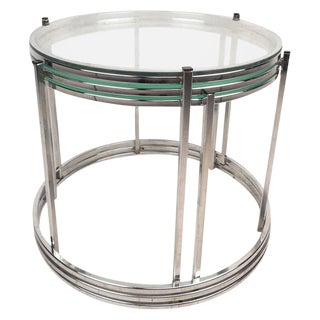 Mid-Century Chrome & Glass Nesting Tables - Set of 3