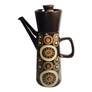 "Denby-Langley ""Arabesque"" Large 7 Cup Coffee Pot in the Arabesque/Samarkan Range Designed by Gill Pemberton in 1963"