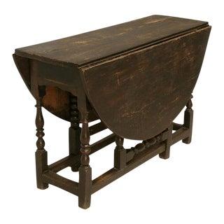 C.1820 Primitive English Drop-Leaf Oak Gate-Leg Farm Table