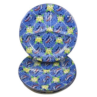 English Ironstone Chintz Pattern Divided Grill Chop Plates - Set of 4