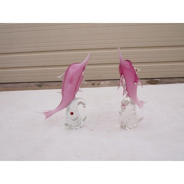 Image of Murano Art Glass Italian Fish Sculptures - A Pair