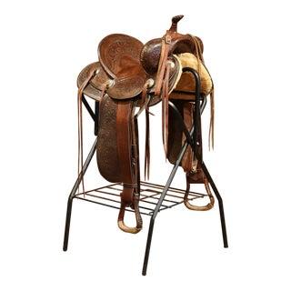 Vintage Tooled Leather Horse Saddle on Stand