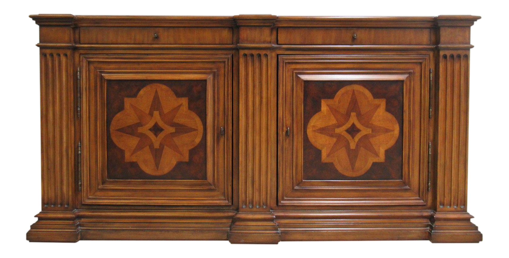 Ethan Allen Lombard Marquetry Sideboard Buffet Cabinet Media Stereo