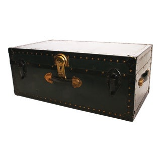 Vintage Black Industrial Vulcanized Steamer Trunk