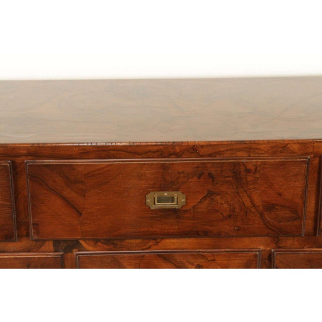 Campaign Style Stained Olive Burlwood Dresser - Image 6 of 8