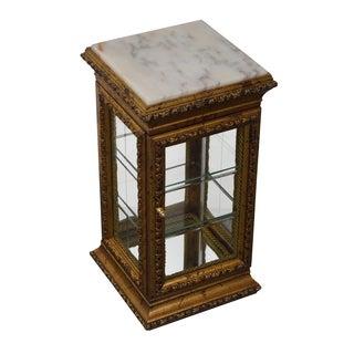 Gilt Frame Marble Top Curio Vitrine Side Table
